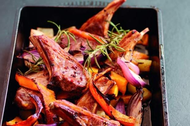 Roast lamb cutlets with pumpkin