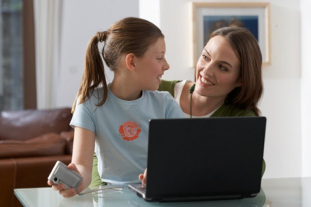Pre-teen teaching your child online privacy mother daughter computer
