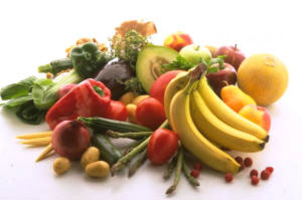 A selection of raw fruit and vegetables