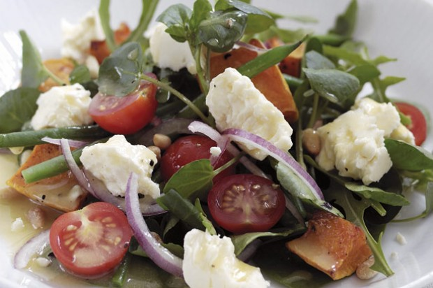 Cheshire cheese and roasted pumpkin salad