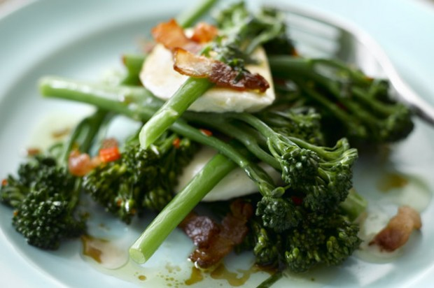 Peter Gordon's Tenderstem broccoli with chilled bacon lardons mozzarella and basil