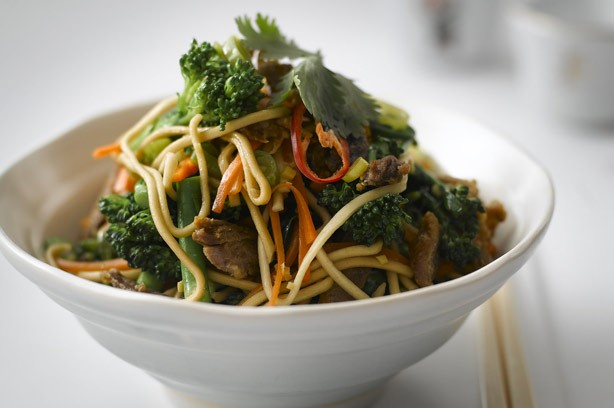 Lesley Water's gingered noddles with crispy duck
