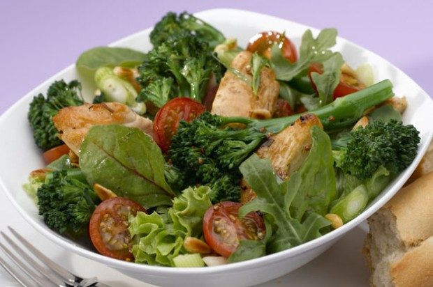 Warm Tenderstem broccoli and tarragon chicken salad