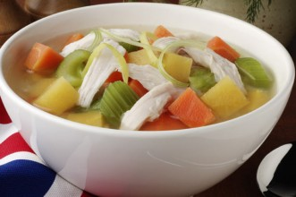 Chicken soup from stock