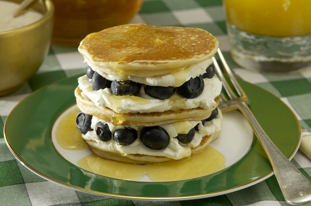 Lemon pancakes with lemon syrup and blueberries recipe ...