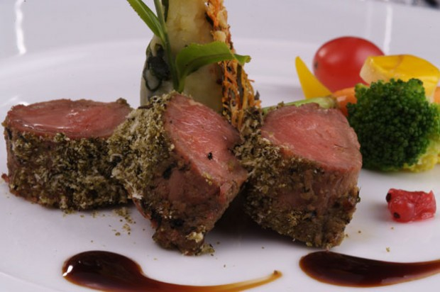 Herb crusted beef fillet in black tea marinade