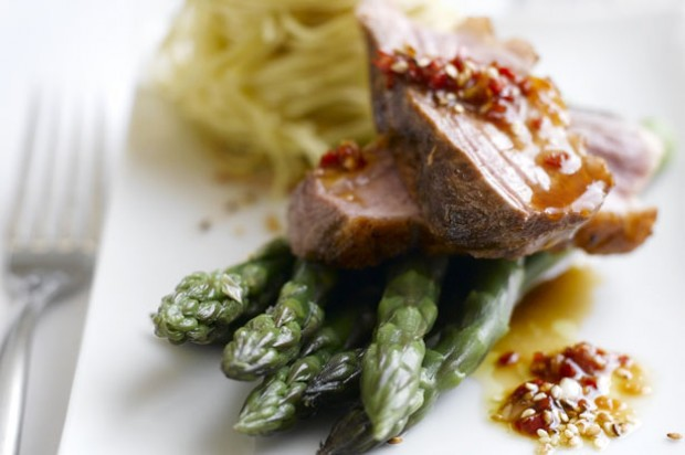 Pan fried duck breast with asparagus