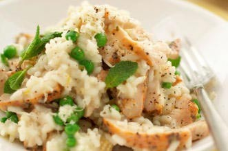 Lemon chicken and pea risotto