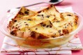 Hot cross bread and butter pudding