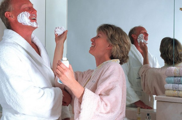 Relationships couple bathroom shaving foam laughing