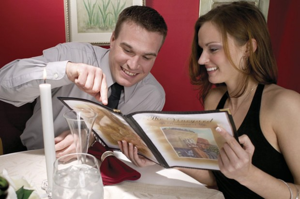 Relationships couple restaurant date menu dinner