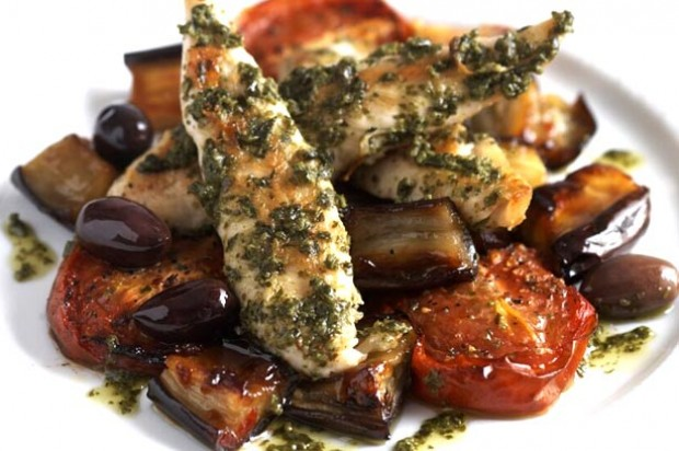 Pesto chicken with aubergine, tomatoes and olives