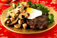 Chinese pepper steak, egg and mushroom stir-fry