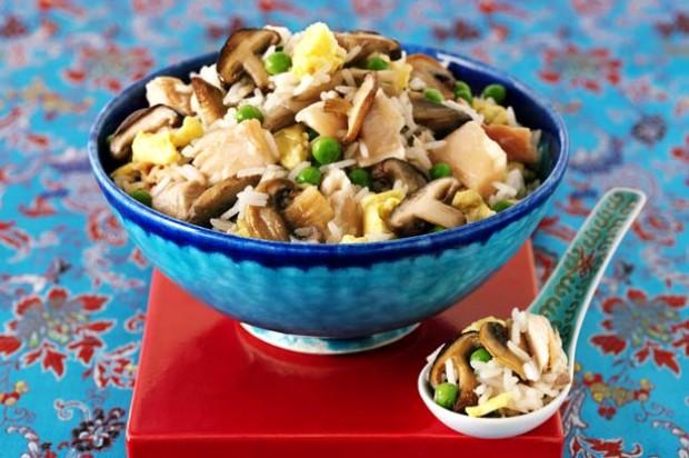 Salmon, shitake and mushroom egg fried rice