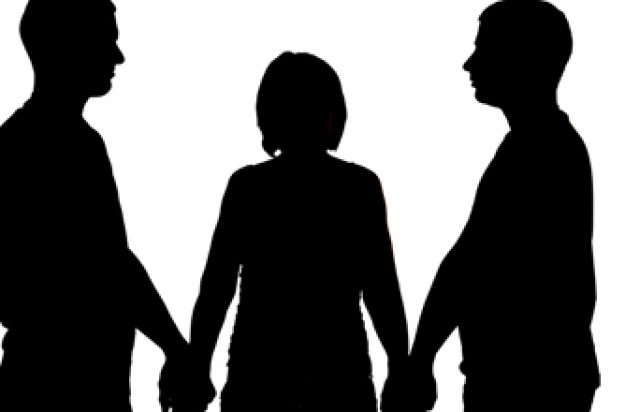 Woman holding two different men's hands
