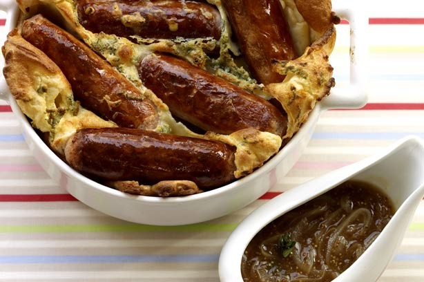 Toad in the hole with sage batter and Guinness gravy