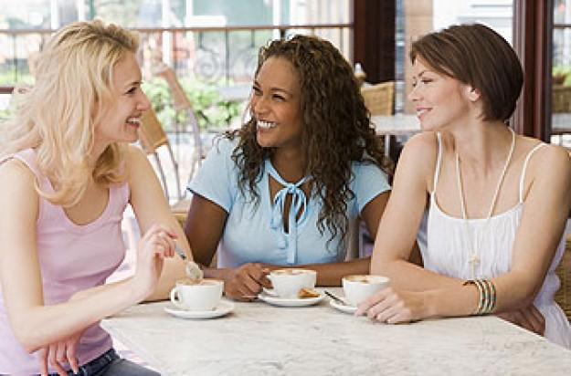 Three women enjoying a coffee together