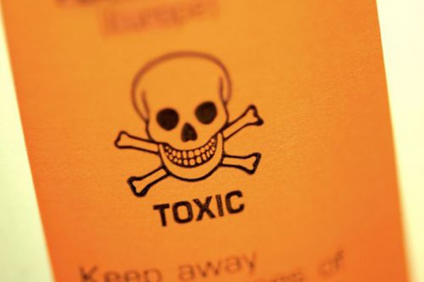 Bottle with the word toxic on it