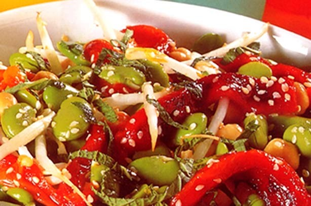 Broad bean and pepper salad recipe