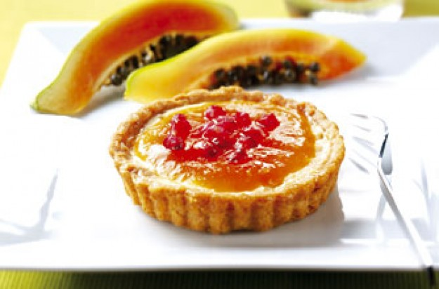 Papaya and pomegranate tarts