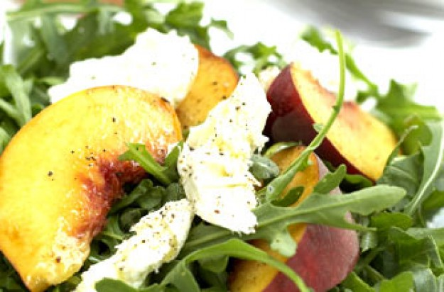 Peach, mozzarella and rocket salad