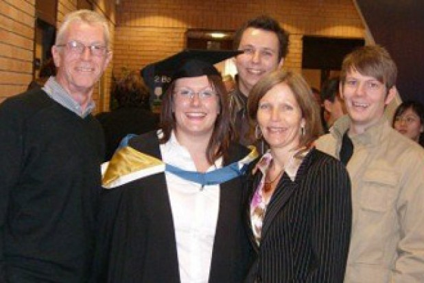 Vicky Woollaston with her Dad, Mother-in-law, boyfriend and brother-in-law