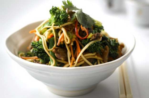 Lesley Waters' Tenderstem, ginger noodles and crispy duck