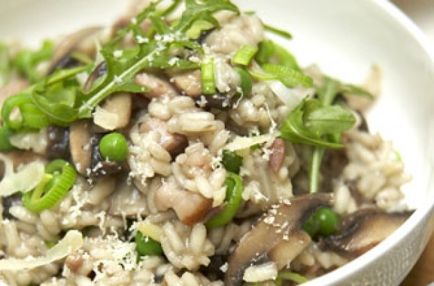 Mushroom, bacon and pea risotto