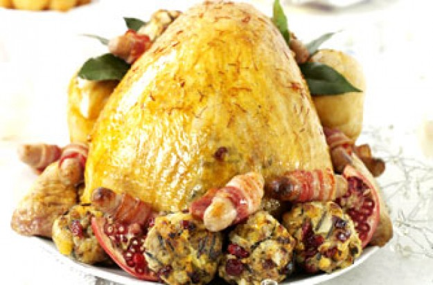 Turkey with saffron and cranberry stuffing