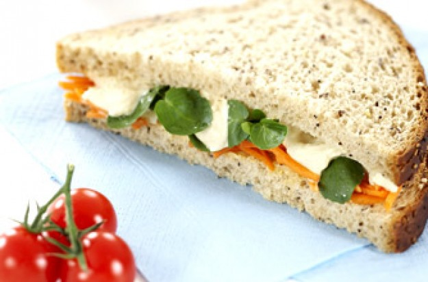 Houmous and carrot sandwich