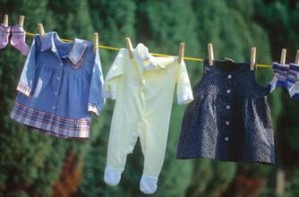 Baby clothes on a washing line