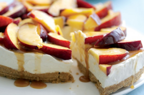 Peach and caramel cheesecake