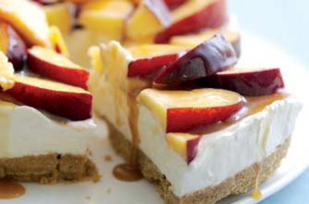 Peach and caramel cheesecake