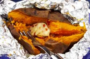 Sweet potatoes with chilli and cinnamon butter