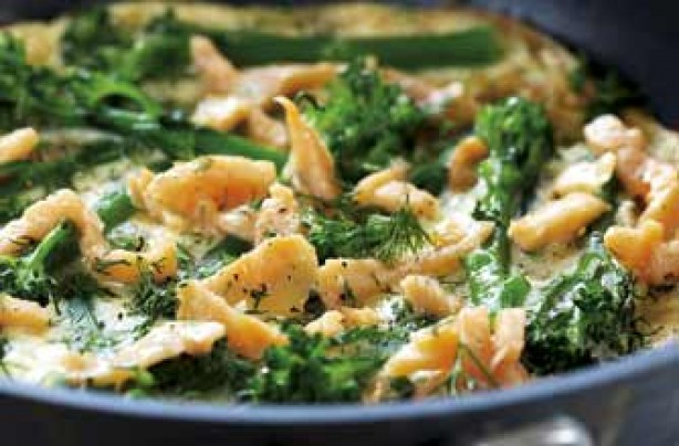 Salmon and broccoli frittata