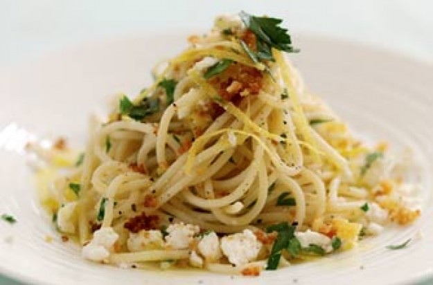 Crunchy crumbs and feta pasta
