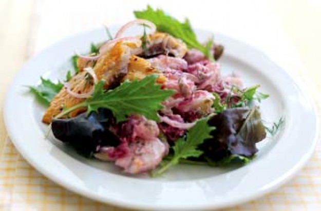 Kippers with potato and beetroot salad