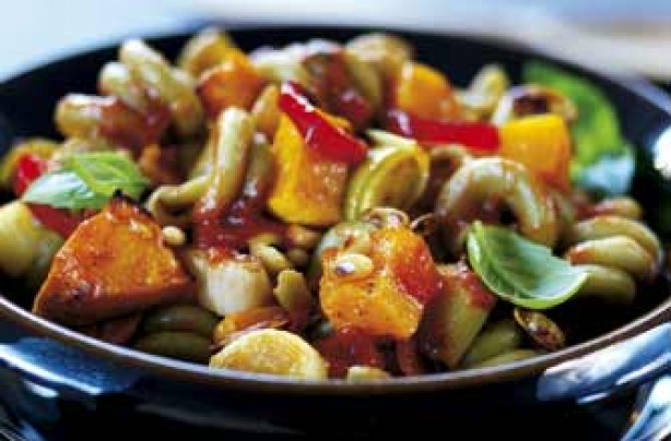 Squash, leek and pine nut trottole pasta recipe