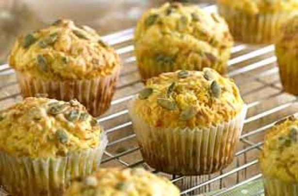 Pumpkin, cheese and chive muffins