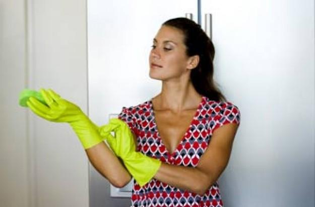 Woman, wearing gloves