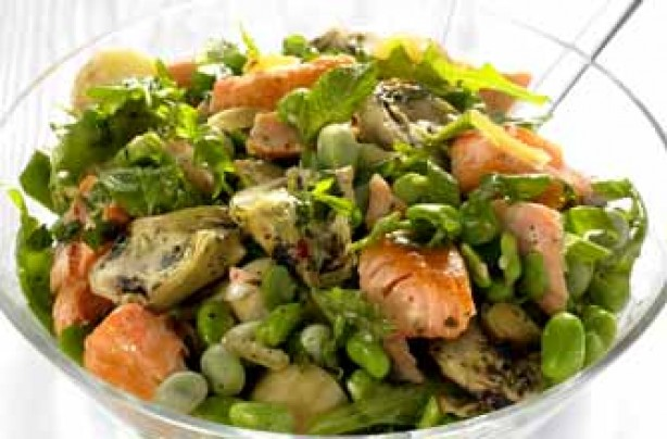 Salmon and broad bean salad recipe
