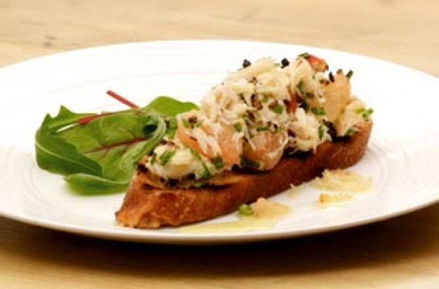 Citrus crab toasts