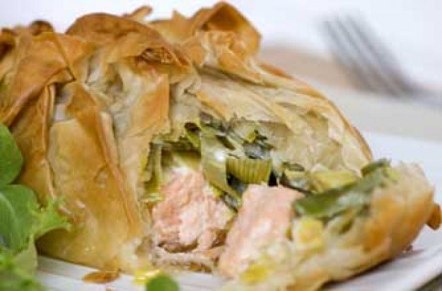 Salmon and mascarpone leek parcels