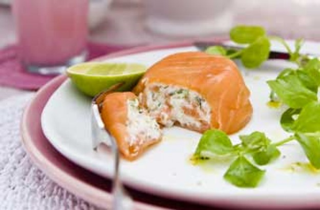 Smoked salmon and haddock parcels