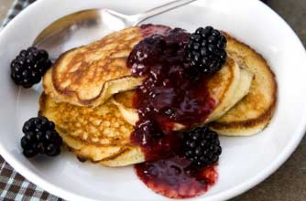 Pancakes with wild blackberry butter