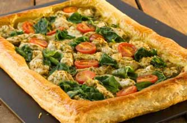 Chicken, pesto and spinach puff pastry open tart