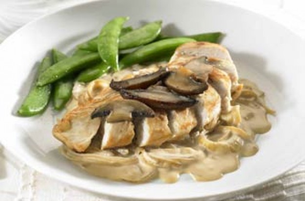 Chicken with mushrooms in a madeira sauce