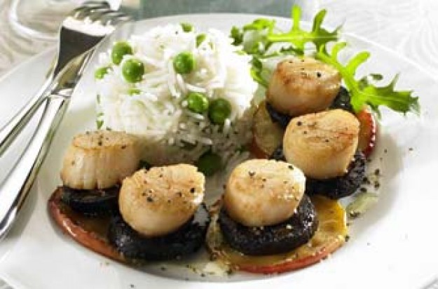 Scallops on black pudding and apple slices
