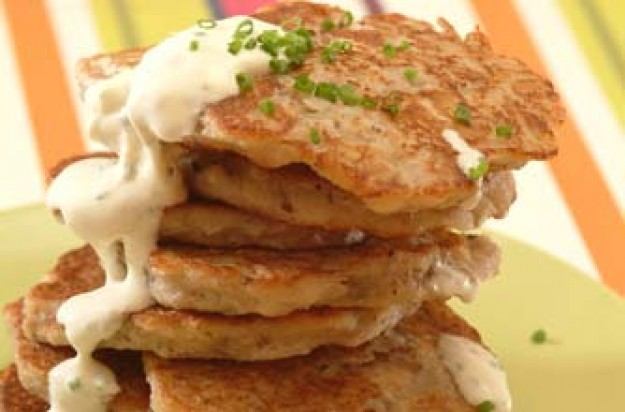 Savoury banana drop scones with cream cheese and chives