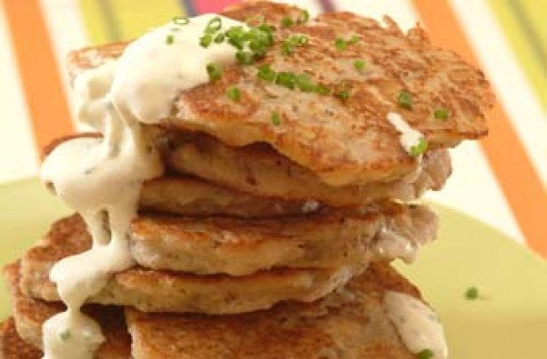 Savoury banana drop scones with cream cheese and chives recipe